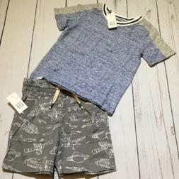 Baby Gap Boys 12-18 Months Outfit. Blue / Gray Shirt & Space