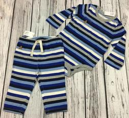 Baby Gap Boys 6-12 Months Outfit. Blue Striped Shirt & Pants