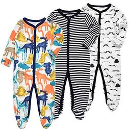 Exemaba Baby Boys' Footed Sleeper Pajamas - Infant Long Slee