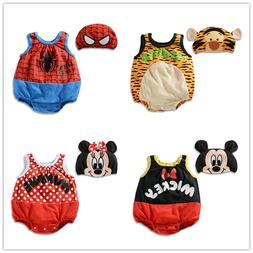 BABY BOYS GIRLS DISNEY CARTOON COSTUME HAT SET SUMMER ROMPER