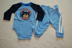 Baby Boys L/S BLUE & NAVY SHIRT Bodysuit CUTE RASCAL BEAR Kn