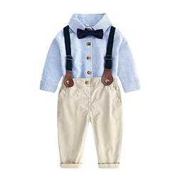 Moyikiss Studio Baby Boys Long Sleeve Striped Shirt with Bow