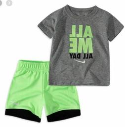 NIKE BABY BOYS SHIRT SHORTS GRAY GREEN 2PC SET OUTFIT 12 24