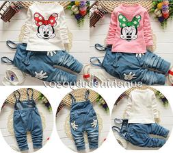 Baby clothes infant girls cotton long sleeve T shirt +suspen