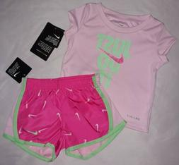 Nike Baby Girl 12M 18M 24M 2pc T Shirt Top Tee Shorts Bottom