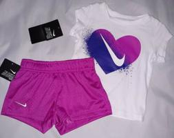 Nike Baby Girl 12M Outfit Shirt Short Sleeve Heart Top Short