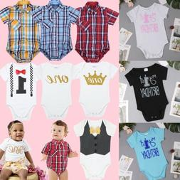Baby Girl Boy First 1st Birthday Outfit Romper One Year Body