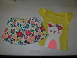 BABY GIRL CARTER'S SIZE 12 MONTHS CAT TEE & FLORAL SKIRT SET