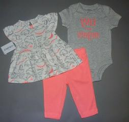 Baby girl clothes, 12 months, Carter's 3piece set/NEW OUT/SE