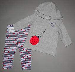 Baby girl clothes, 12 months, Carter's Ladybug top, matching
