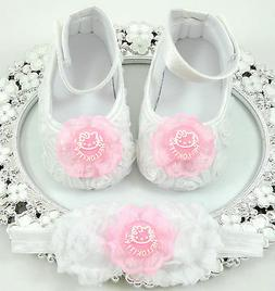 Baby Girl Crib Shoes and Headband Set, Newborn Baby Girl Sho