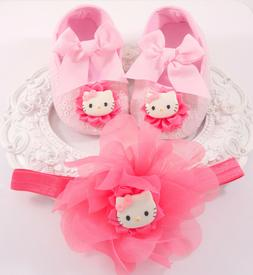 Baby Girl Crib Shoes & Headband Set, Baby Girl Shoes 9 to 12