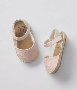 Gap Baby Girl Eyelet Espadrille Sandals / Shoes Light Pink S