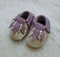 BABY GIRL MOCCASINS 12 - 18 MONTHS LAVENDER AND IVORY LEATHE