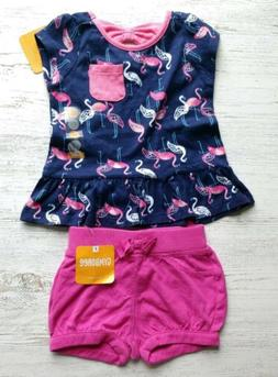 Gymboree Baby girl outfit 6-12 months flamingo top pink bubb