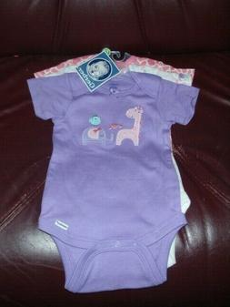 Gerber Baby Girl's GIRAFFEE  3 Piece Onesie Set NEW Size 12