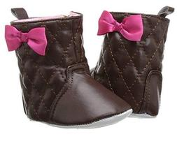LUVABLE FRIENDS Baby Girl's Quilted Zip Boots Booties BROWN