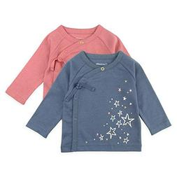 Baby Girl Tee Set, 2-Pack Long Sleeve Kimono Wrap Tee Shirts