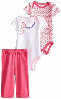 LUVABLE FRIENDS BABY GIRLS 2 BODYSUIT AND PANTS SET COTTON 0