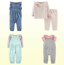 Baby Girls 2Pc Pink Dot-Heart Top Pants Set Carters or Blue