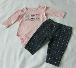 Baby Girls clothes 12 Months Carter's 2-piece pant set New w