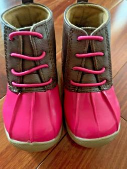 Baby Girls Duck Boots, Brown/Pink, Size 5, 12-24 Months NEW