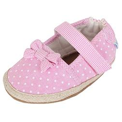 Robeez Baby Girls Espadrille Crib Shoes Pink Polka Dot and G