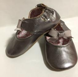 baby girls infant pewter leather soft sole