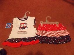 baby girls size 12 months 2 piece red/white and blue tee/sco