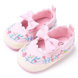 Baby Girls Size 6-12 Months Pink Slip On Shoes with Embroide