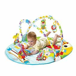 Baby Gym Play Mat, Activity Center with 6 Newborn Toys, 0 -1