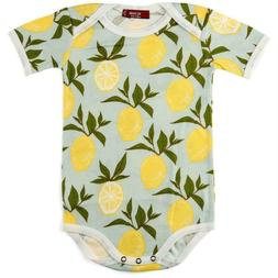 Milkbarn Baby Lemon Short Sleeve One Piece Bodysuit