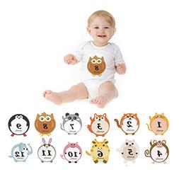 Baby Monthly Milestone Stickers, 0-12 Months Happy Animal Be