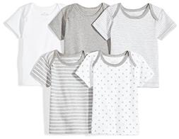 Moon and Back Baby Set of 5 Organic Lap-Neck Crew Short-Slee