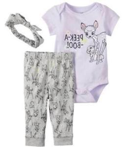 DISNEY BAMBI PURPLE 3 PIECE OUTFIT SIZE NB 3 6 9 12 18 MONTH