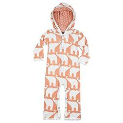 MilkBarn Bamboo Infant and Toddler Hooded Romper Rose Elepha