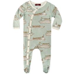 Milkbarn Bamboo Infant Baby Footed Romper Blue Ships 9-12 Mo