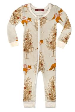 Milkbarn Bamboo Zipper Baby Pajamas Christmas Fox 9-12 Month