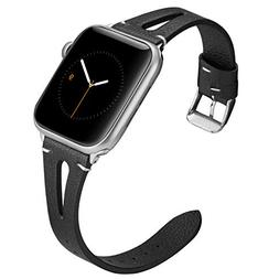 Wearlizer Black Leather Bands Compatible with Apple Watch St