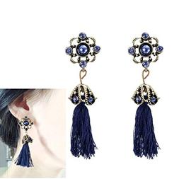 bohemia blue flower pearl long