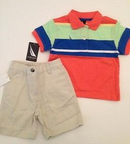 Nautica Boy Size 12 18 24 Months Outfit Set Orange Polo Shir