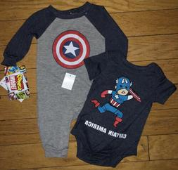 Captain America Boys 0 3 12 18 Months Two Piece Set Outfit R