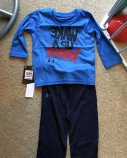 Boys Kids Baby Under Armour Shirt & Pants Set NEW 12 Months