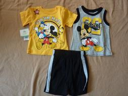 Boys Disney Mickey Mouse 3 Piece Set Outfit Shirt & Shorts S