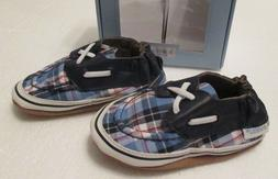 ROBEEZ Boys Navy Conner Plaid Shoes Size 6-12 or 18-24 month