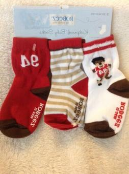 robeez boys socks kickproof color:RED hockey bear size 0-6,