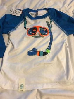 Boys White & Blue Swim Shirt Rash Guard 9-12 Months L/S Butt