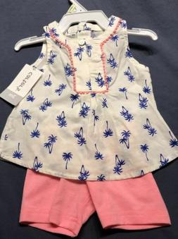 CARTER'S 2 pc outfit 12 months S/S shirt, Shorts Palm Trees