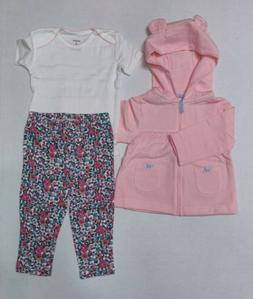 Carter's 3 Piece Set For Girls 9 12 or 18 Months Hooded Jack