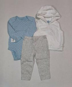 Carter's 3 Piece Sherpa Vest Set 6 12 or 24 Months